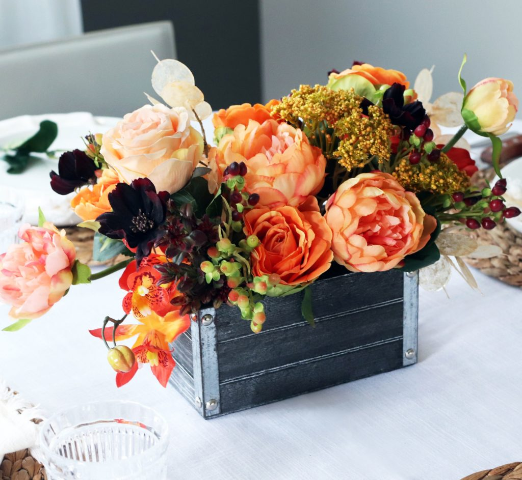 Fall Centrepiece with Autumn Flowers in Wooden Box