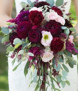 Burgundy Cascading Bridal Bouquet